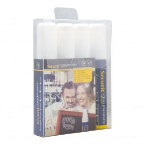 Securit® Feutre - craie à encre liquide Blanc lot de 4 - large 7 - 15mm Nib - pochette