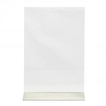 Securit® Transparenter Kartenhalter A4 Vertikal Aufsteller mit Edelstahlfuß