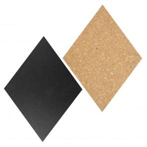 Securit® Diamant Kork- + Kreidetafeln - insges. 7 Stück (4*Kreidetafel, 3*Kork) mit Pinnadeln und Klettband zur Wandbefestigung