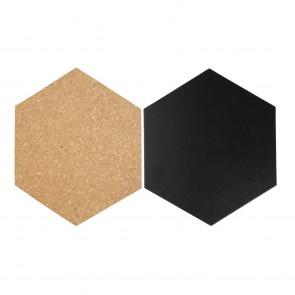 Securit® Hexagon Kork- + Kreidetafeln - insges. 7 Stück (4*Kreidetafel, 3*Kork) mit Pinnadeln und Klettband zur Wandbefestigung
