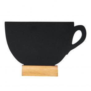 "Securit® MINI Silhouette Tischkreidetafel ""CUP-3"", inkl. Holzfuß und 1 Kreidestift"