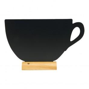 """Securit® Silhouette Tischkreidetafel """"CUP"""", inkl. Holzfuß und 1 Kreidestift"""
