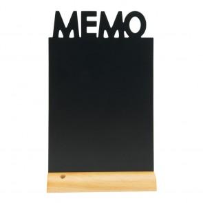 """Securit® Silhouette Tischkreidetafel """"MEMO"""", inkl. Holzfuß und 1 Kreidestift"""