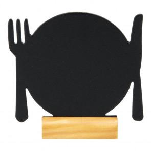 "Securit® MINI Silhouette Tischkreidetafel ""PLATE-3"", inkl. Holzfuß und 1 Kreidestift"