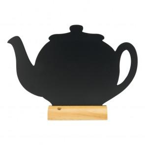 "Securit® Silhouette Tischkreidetafel ""TEAPOT"", inkl. Holzfuß und 1 Kreidestift"