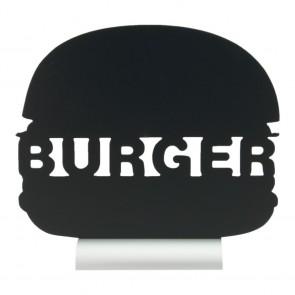 "Securit® Silhouette Tischkreidetafel ""BURGER"", inkl. Aluminiumfuß und 1 Kreidestift"