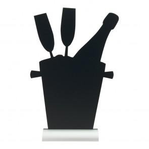 "Securit® Silhouette Tischkreidetafel ""CHAMPAIGN"", inkl. Aluminiumfuß und 1 Kreidestift"