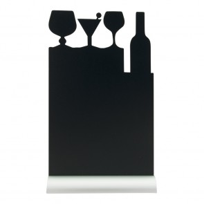 "Securit® Silhouette Tischkreidetafel ""COCKTAIL"", inkl. Aluminiumfuß und 1 Kreidestift"