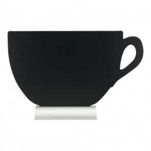 "Securit® Silhouette Tischkreidetafel ""CUP"", inkl. Aluminiumfuß und 1 Kreidestift"