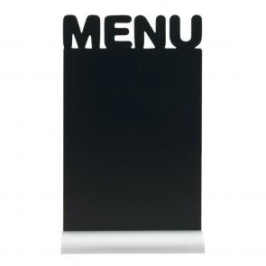 """Securit® Silhouette Tischkreidetafel """"MENU"""", inkl. Aluminiumfuß und 1 Kreidestift"""