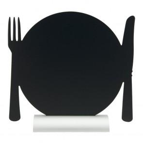 "Securit® Silhouette Tischkreidetafel ""PLATE"", inkl. Aluminiumfuß und 1 Kreidestift"