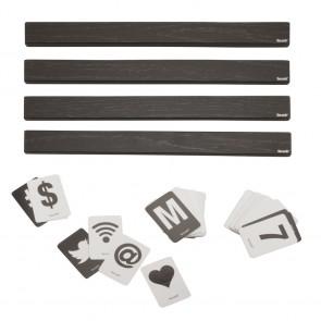 Securit® Buchstabenleiste, 1m. inkl. Buchstaben und Zahlen - hölzerne Leiste um Preise oder Spreüche zu präsentieren Schwarz