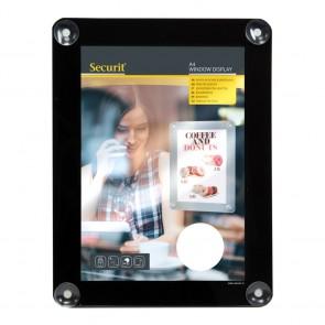 Securit® Fenster-Kreidetafel A4 mit Saugnäpfen A4 UV Resitent - Doppelseitig Schwarz