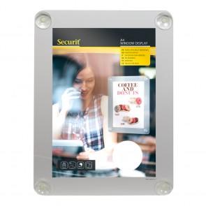 Securit® Fenster-Kreidetafel A4 mit Saugnäpfen A4 UV Resitent - Doppelseitig Grau