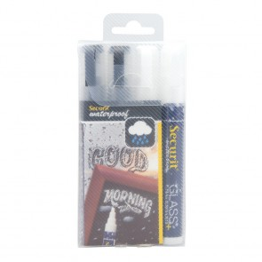 """Securit® Kreidestifte """"Waterproof"""" 2-6mm in Schwarz und Weiß, 4er Set (2x2)"""