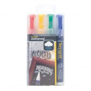"Securit® Kreidestifte ""Waterproof"" 2-6mm in Rot, Blau, Grün, Gelb, 4er Set"
