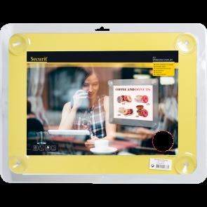 Securit® Fenster-Kreidetafel A4 mit Saugnäpfen A4 UV Resitent - Doppelseitig Gelb