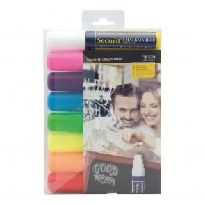 Securit® Feutre - craie à encre liquide coloré lot de 8 - large 7 - 15mm Nib - pochette - Blanc Rouge bleu jaune vert rose orange violet