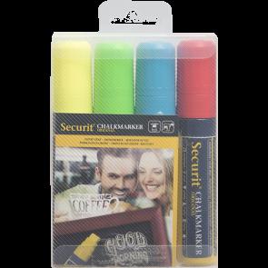 Securit® Feutre - craie à encre liquide coloré lot de 4 - large 7 - 15mm Nib - pochette - bleu rouge vert blanc