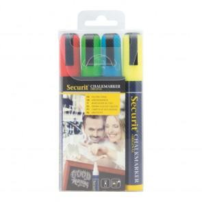 Securit® Lot de 4 Feutres - craie à encre liquide coloré - taille de mine 2 - 6mm - pochette