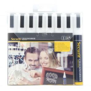Securit® Feutre - craie à encre liquide Blanc lot de 8 - medium 2 - 6mm Nib - pochette