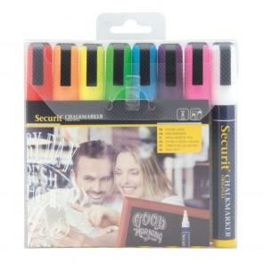 Securit® Feutre - craie à encre liquide coloré lot de 8 - medium 2 - 6mm Nib - pochette - Blanc Rouge bleu jaune vert rose orange violet