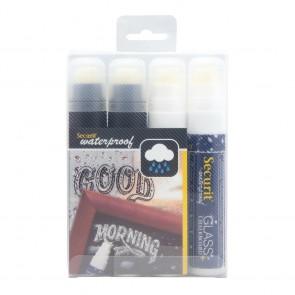 Securit® Feutre - craie Waterproof Blanc et noir lot de 4 - pointe large 7 - 15mm